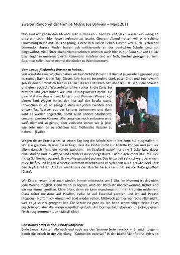 Zweiter Rundbrief der Familie Müßig aus Bolivien – März 2011