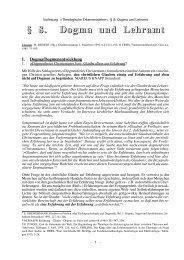 § 8. Dogma und Lehramt - Theologie-Skripten