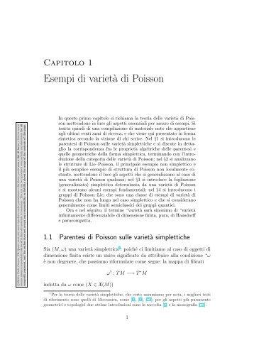 Esempi di variet`a di Poisson