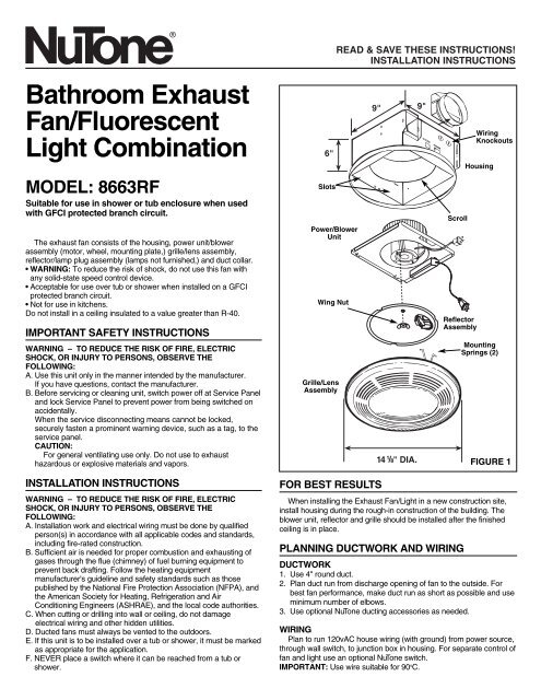 Bathroom Exhaust Fan Fluorescent Light Combination Nutone