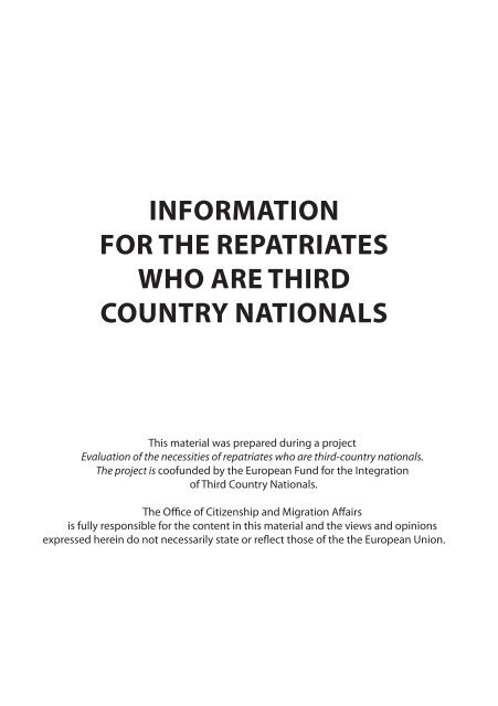 InformatIon for the repatrIates who are thIrd country natIonals
