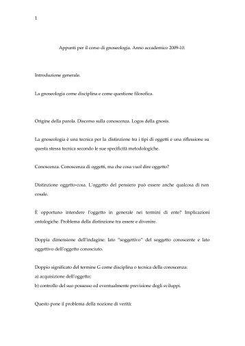 Appunti per il corso di gnoseologia. Anno ... - Lettere e Filosofia