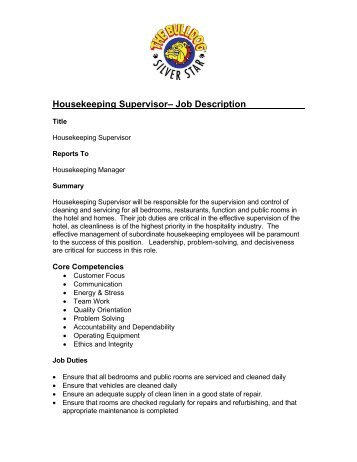 Job Description For: Central Reservations Housekeeping   - Owh
