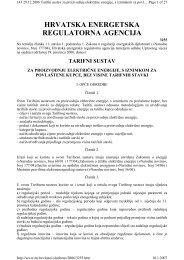 Tarifni sustav za proizvodnju električne energije - HEP Grupa