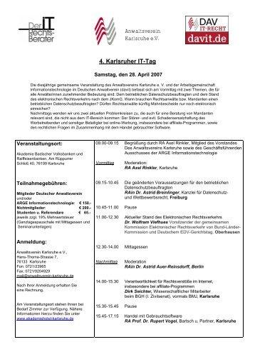 Anwaltsverein Karlsruhe e.V. 4. Karlsruher IT-Tag - Vogel & Partner