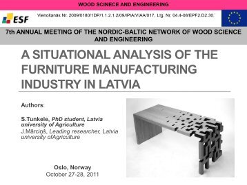 A situational analysis of the furniture manufacturing industry in Latvia