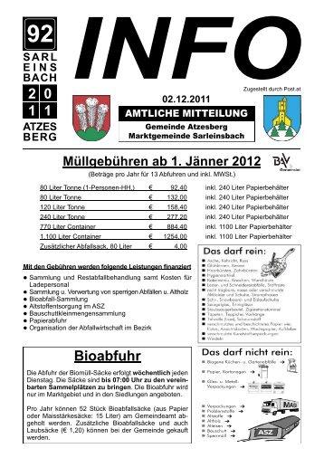 Info 92-2011.indd - Marktgemeinde Sarleinsbach