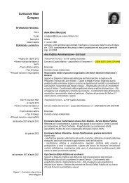 Curriculum Vitae Europass - Comune di Cusano Milanino