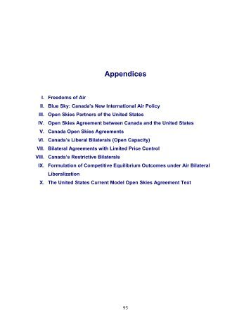 Analysis of Canada's Bilateral Air Services Agreements: Policy ...