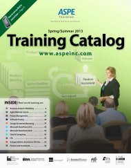 Business Analysis Modeling Boot Camp - ASPE