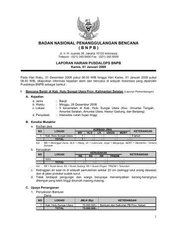 Laporan Harian 1 Januari 2009 - BNPB