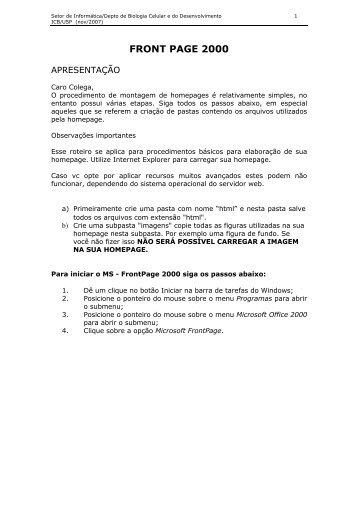 Apostila FrontPage 2000.pdf - Depto. de Biologia Celular e do ...