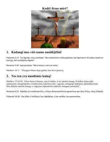 1. Kadangi mes visi esame nusidėjėliai! - Why Did Jesus Die?