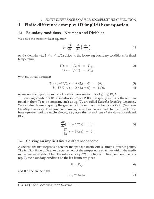 1 Finite difference example: 1D implicit heat equation - USC