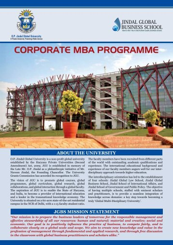 CORPORATE MBA PROGRAMME - Jindal Global Business School