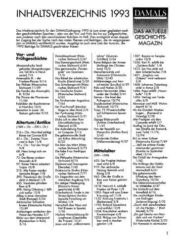 DAMALS Jahresregister 1993