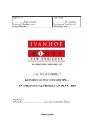 Oyu Tolgoi Environmental Protection Plan and Monitoring ...