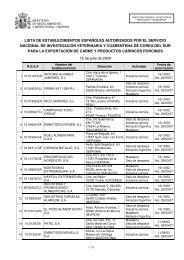 LISTA DE ESTABLECIMIENTOS ESPAÑOLES ... - Eurocarne