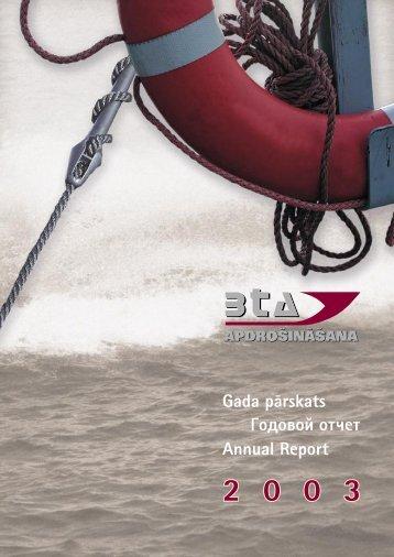 Finanšu pārskats par 2003. gadu - BTA