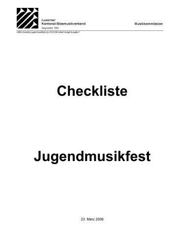 Checkliste Jugendmusikfest - Luzerner Kantonal-Blasmusikverband