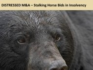 DISTRESSED M&A – Stalking Horse Bids in Insolvency - Farris