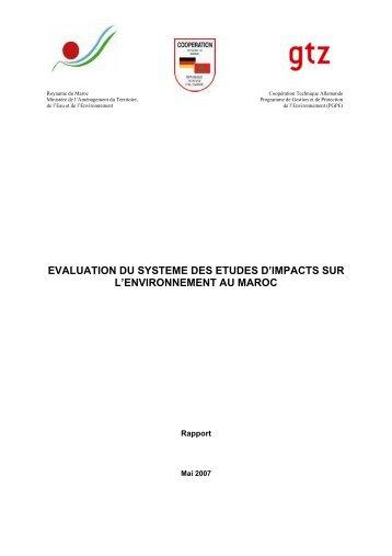 Evaluation du système des études d'impacts sur l ... - GD MAROC