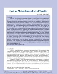 Cysteine Metabolism and Metal Toxicity - Thorne Research