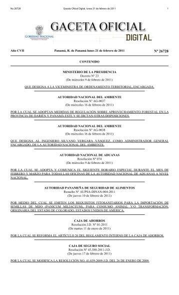 Gaceta No. 26728