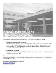 The information on the following pages was displayed at ... - Oakville