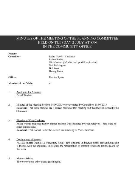 2 July 2013 - Watlington Parish Council