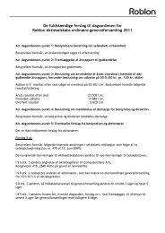 De fuldstændige forslag til dagsordenen for Roblon ... - Roblon A/S