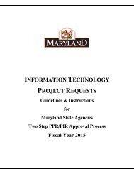 ITPR Guidelines - DoIT Website - Maryland.gov