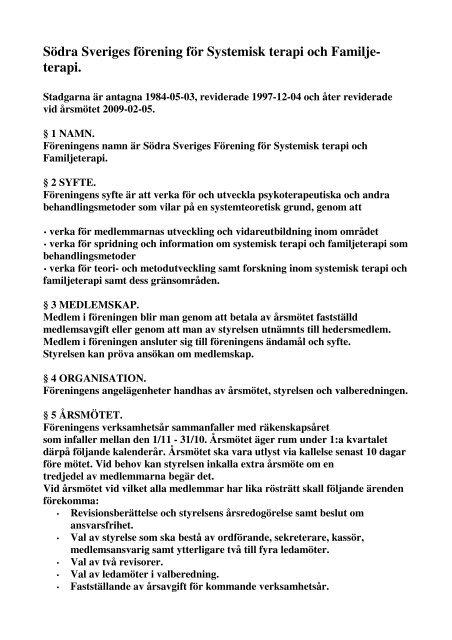stadgar famter f\366rening 2009 - Svenska föreningen för familjeterapi