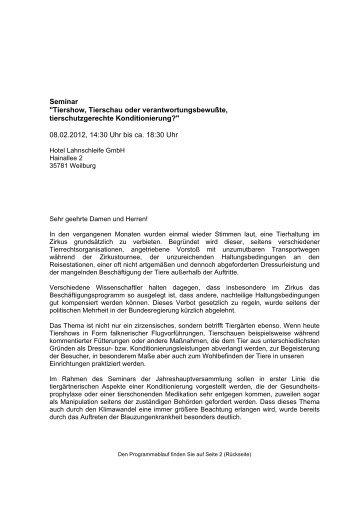 Seminar - Deutscher-Wildgehege-Verband eV