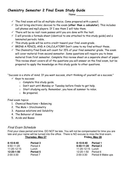 Chemistry Semester 2 Final Exam Study Guide