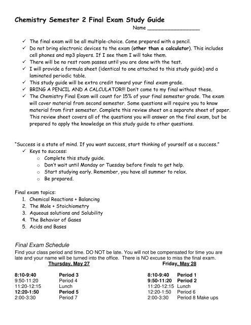 Chemistry Semester 2 Final Exam Study Guide