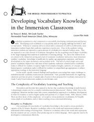 Developing Vocabulary Knowledge in the Immersion Classroom