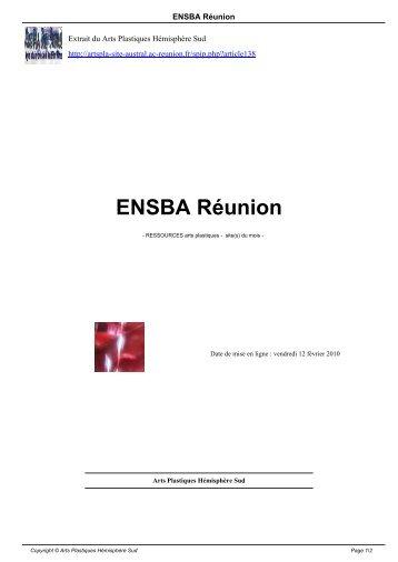 ENSBA Réunion - Arts Plastiques Hémisphère Sud