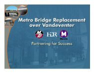 D/B for Metro - Bridge Replacement with 5 days of Closure