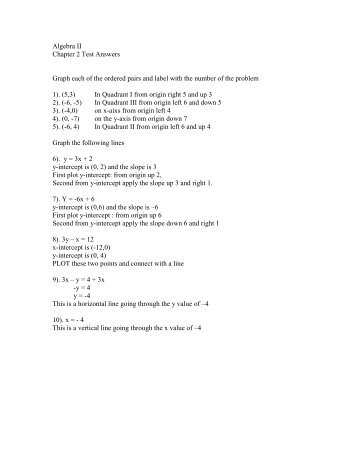 Algebra II Chapter 2 Test Answers Graph each of the ordered pairs ...