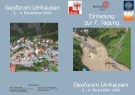 Programm und Kurzfassungen 7. Geoforum Umhausen 3.11. – 4.11. 2005