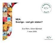 NEA: Sverige - vad gör staten?