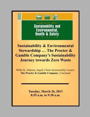 The Procter & Gamble Company's Sustainability Journey towards ...