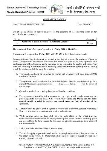 quotation letter. - IIT Mandi