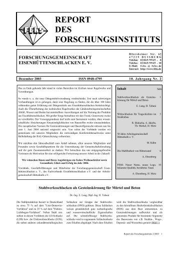 REPORT DES FORSCHUNGSINSTITUTS - FEhS