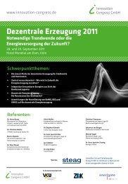 Dezentrale Erzeugung 2011 - Innovation Congress GmbH