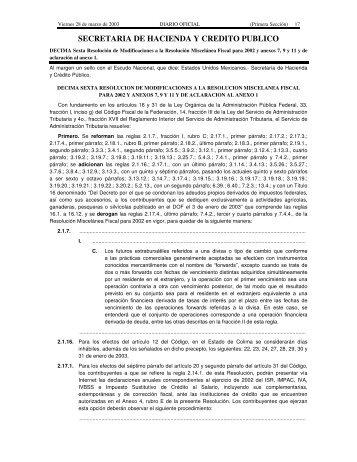 SECRETARIA DE HACIENDA Y CREDITO PUBLICO - Secretaría de ...