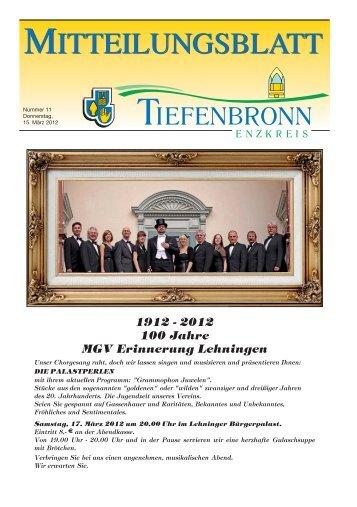 1912 - 2012 100 Jahre MGV Erinnerung Lehningen - Tiefenbronn