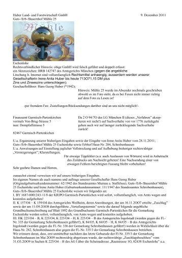 Huber Land- und Forstwirtschaft GmbH 9. Dezember 2O11 Guts ...