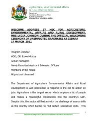 welcome address by mec for agriculture, environmental affairs and ...